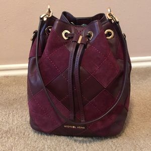 Michael Kors Suede Leather Drawstring Bucket Bag